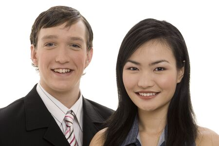 A smiling pair of business people Stock Photo - 243498