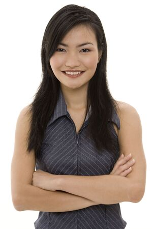 pinstripe: A beautiful asian woman in a grey pinstripe business suit Stock Photo
