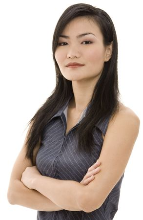 pinstripe: A beautiful asian woman looks powerful in her grey pinstripe suit Stock Photo