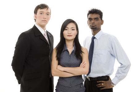 formidable: Two men and one woman in business dress make a diverse team Stock Photo