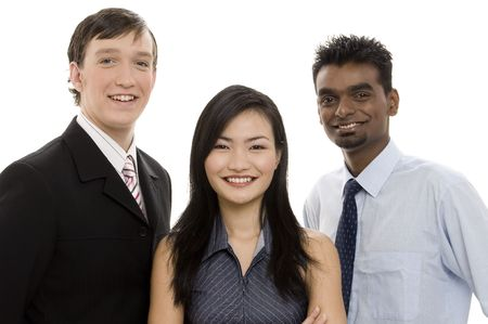 formidable: A diverse group of three individuals make up this business team Stock Photo