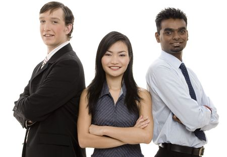 pinstripes: A diverse threesome form a happy business team