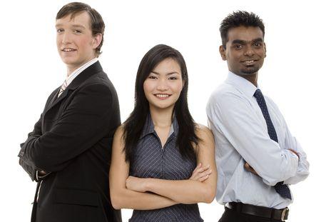 trio: Una forma threesome diversa un equipo feliz del negocio