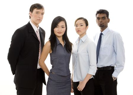 formidable: A serious-looking group of young individuals make a formidable business team Stock Photo