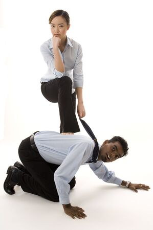 indian male: A cute chinese businesswoman dominates her indian male colleague