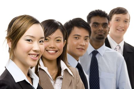 asian office lady: A confident and diverse group of business personnel Stock Photo