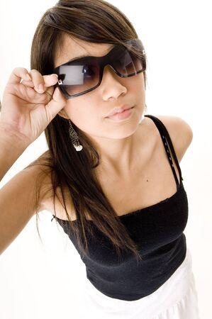 distort: Un joven cool asian mujer en gafas de sol  Foto de archivo