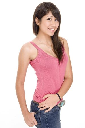 pink and brown: A cute young woman with a great smile in casual clothes