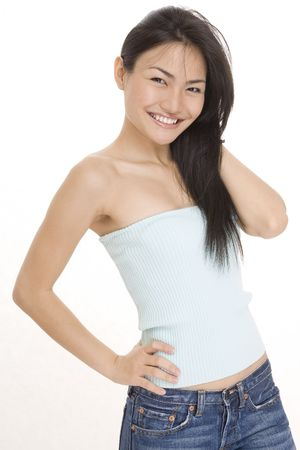 demure: A beautiful young chinese woman in casual clothes