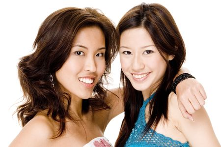 Two pretty young asian women photo