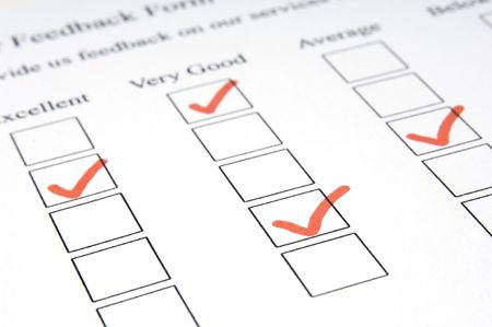 attainment: A macro shot of a feedback form showing mixed results