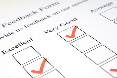 attainment: A close-up shot of a customer feedback form - shallow depth of field used Stock Photo