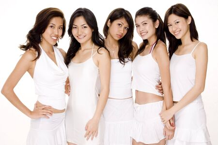 dressy: Five attractive young asian women in white on white