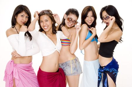 summer wear: Five cute young asian women in summer wear on white background Stock Photo