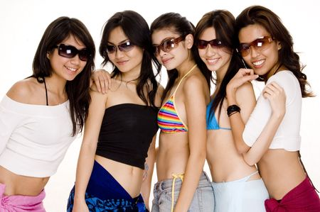 beach wrap: Five attractive young asian women in sunglasses and summer clothes