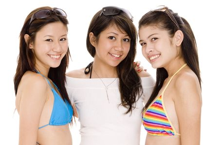 babes: Three cute asian women in summer clothes