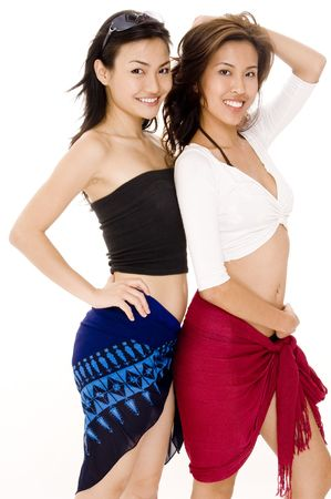 beach wrap: Two pretty asian women in summer clothes