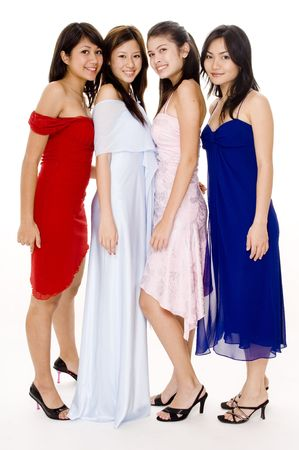 'evening wear': Four young women in evening wear