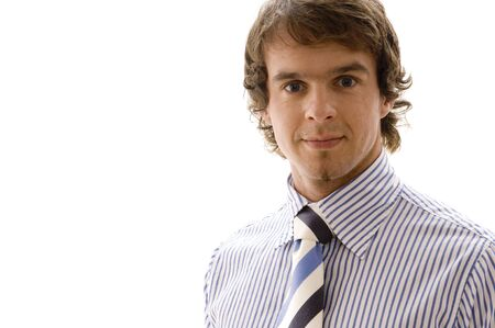 A handsome young businessman on white background photo