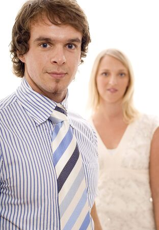 A confident businessman and woman (shallow depth of field) Stock Photo - 305602