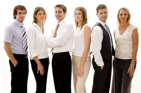 6 people: A group of six business people on white background