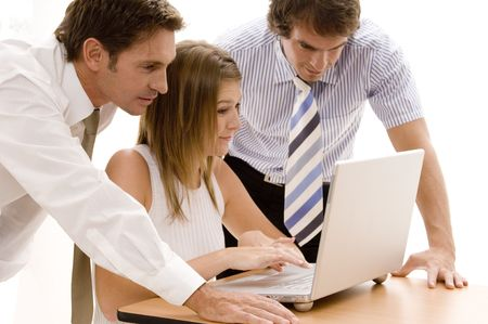 A business team working on a laptop computer Stock Photo - 306416