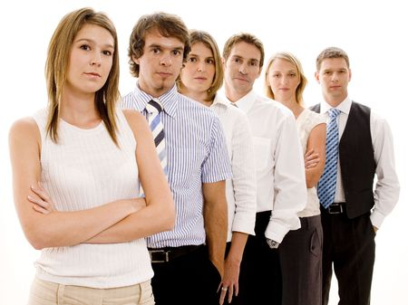 Six business people in a line looking serious (shallow depth of field) photo