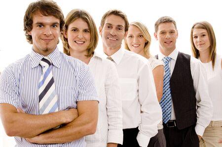 Un grupo de seis personas de negocios confía en hacer un equipo  Foto de archivo - 306424