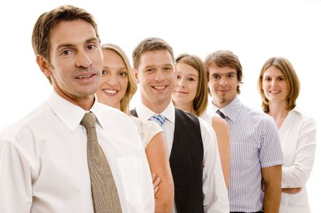 A confident business team of six men and women photo