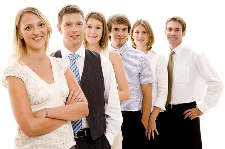 Six business men and women form a business team (shallow depth of field used) photo