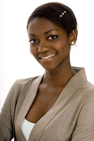A young black female business executive on white background