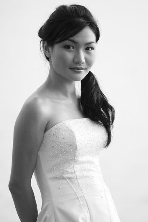 A monochrome pciture of a beautiful asian bride