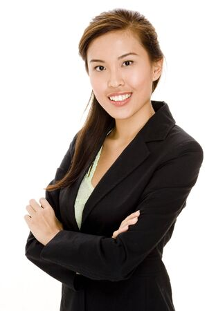 A chinese woman in business suit on white background