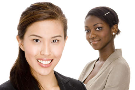 A chinese businesswoman standing in front of her colleague Stock Photo