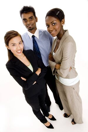 A wide-angle shot of a young diverse business team