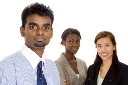 A young diverse business team of three different race individuals Stock Photo
