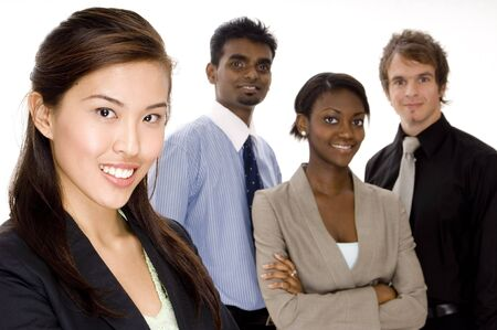 Four attractive individuals make a young diverse business team