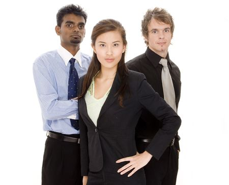 Three diverse individuals make a small business team Stock Photo