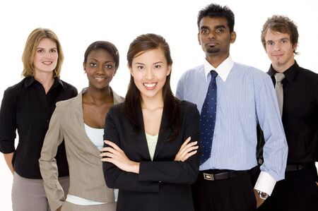 Five people make up a diverse business team Stock Photo