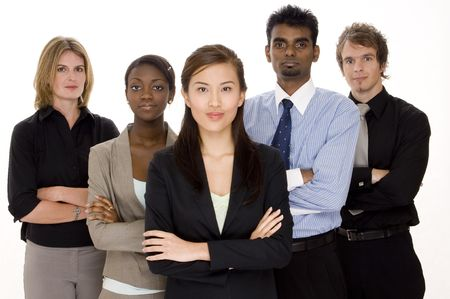 A diverse and serious looking business group