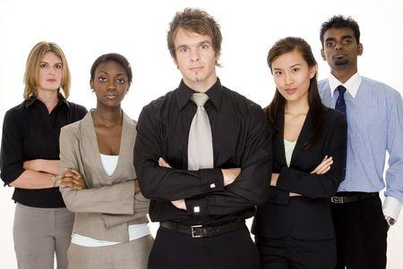A serious business team