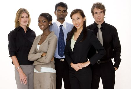 A diverse team of three businesswomen and two businessmen