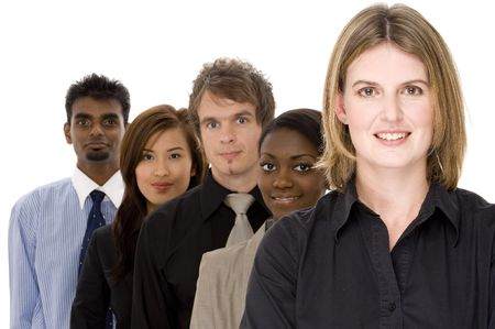 A diverse group of businessmen and women in a line photo