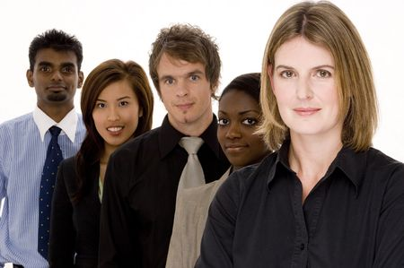 A diverse group of men and women in business attire
