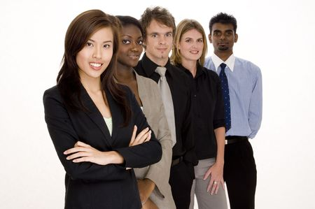 A group of attractive young adults in business wear photo