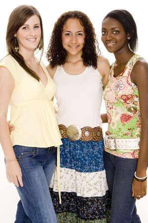 Three attractive young women in casual clothes Stock Photo