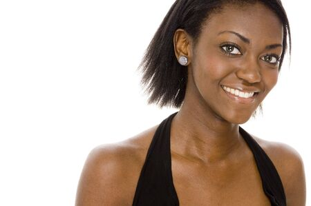 A pretty young african woman in black Stock Photo