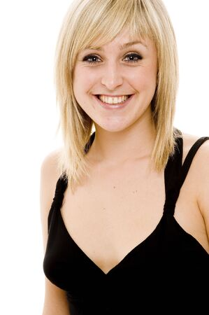 A beautiful young blond woman with great smile photo