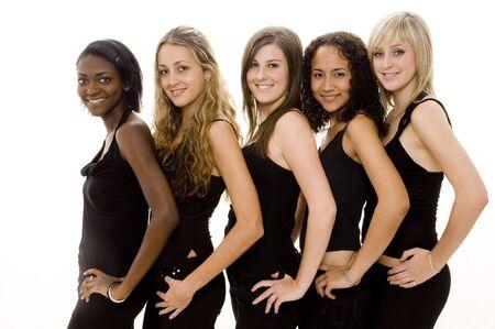 Cinco mujeres adolescentes bonitas en negro en blanco Foto de archivo - 484604