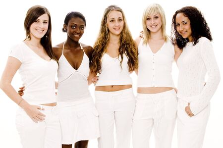 Five attractive women of mixed race in white on white